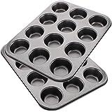 Tebery Lot de 2 Moule à 12 muffins avec effet antiadhésif | moule à muffins, moule à cupcakes, moule à brownies