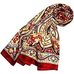 Lorenzo Cana Luxus Seidenschal aufwändig bedruckt Paisley Muster Schal 100% Seide 50 x 170 cm harmonische Farben Damentuch Schaltuch