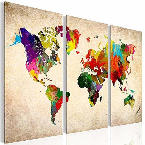 Bilder – Wandbild - Vlies Leinwand - 90 x 60 cm - Weltkarte Bild - Kunstdrucke – mehrere Farben und Größen im Shop - Fertig Aufgespannt - Kontinent – Welt – Landkarte 1051328a