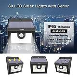 4 x 30 LED Solarleuchte garten, Solarwandleuchte mit Bewegungsmelder, 3 Intelligenten Modi, Solarlampe Bewegungssensor Witterungsbeständig, für Gartendeco, Balkon, im Freien