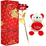 Rangoli Artificial Rose with Gift Box (Red), Medium