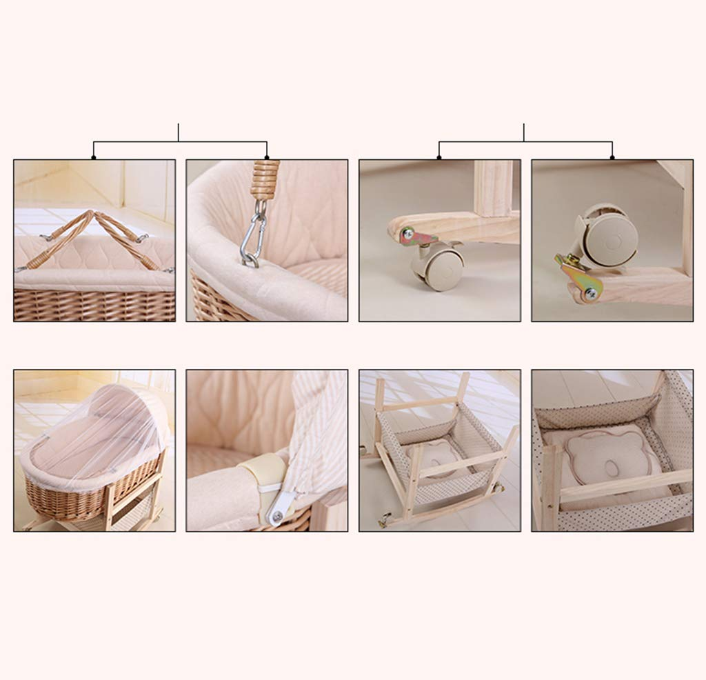 It Can Move Baby Cot, Multifunction Portable Cradle Portable Car Load Baby Travel Bed, 60 * 90CM (Size : 90 * 60CM) Zhao ♥ Product Name: Removable Baby Crib// Size: 60*90CM//Material: Wood; ♥Characteristics: Sturdy detachable beam, can be pushed and pushed double mode, mosquito net and sunshade, lower storage pocket, high quality colored cotton comfortable mattress, soft and smooth, giving baby comfort and enjoyment; ♥Bionic uterus design, give your baby enough safety, let the baby sleep sweetly; 7