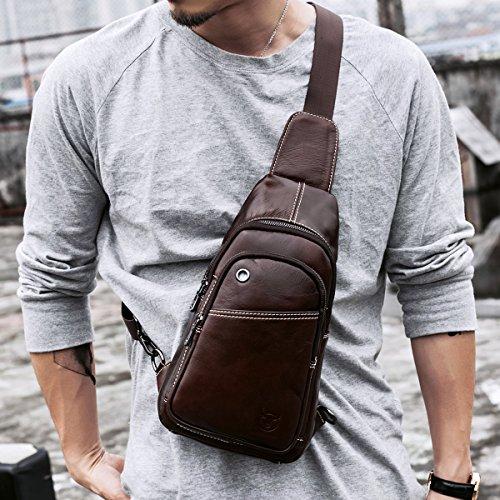 Imagen de leathario bolso bolsa  de pecho piel cuero para hombres bolso hombro con cuero compuesto la mejor opción para diario o trabajo. alternativa