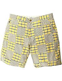 Gant Rugger Hommes Shorts Jaune/Bleu/Blanc R.1. Madras Patchwork Shorts 21831-736