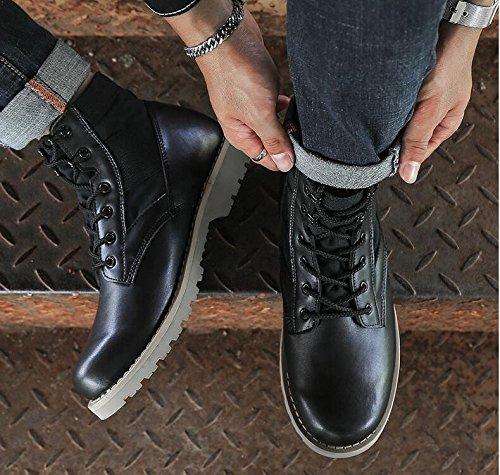 HHY-Confortevole e breathableAutumn e opaca invernale casual stivali in pelle ? desert boots uomini e stivali dell'esercito Black single shoes