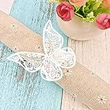 JZK® 50 x Schmetterling Papier Serviettenring für Hochzeit, Taufe, Kommunion, Graduierung, Geburtstag, Weihnachten, bankett oder Verschiedene Anlässe (Weiß)