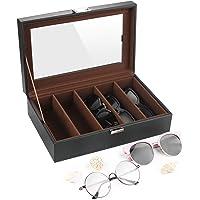 SHYOSUCCE 5 Scomparti Scatola per Occhiali con Copertura Trasparente, Occhiali Custodia Organizzatore per Occhiali…