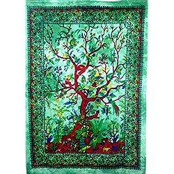 Tradicional Jaipur Tie Dye tapiz indio, Árbol de la vida Arte de la pared para colgar en la pared Póster Hippie, Boho Decoración De Dormitorio, Color Marrón