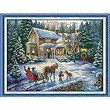Anself 57 * 44cm DIY Conjunto de Punto de cruz de algodón hecho a mano contado cruz puntada costura Kit bordado de Navidad paisaje de decoración casera 14 CT