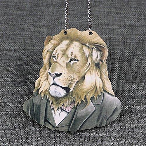 Inebiz Harajuku Style contreplaqué Mr. Single-eyed Leopard animaux Pull Collier de voiture Charm Rétroviseur à suspendre Pendentif, lion