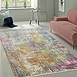 Designer Wohnzimmer Teppich Hochwertig Modern Shabby Chic Pastell Farben Bunt, Grösse:160x230 cm