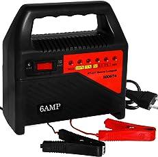 Deuba Batterieladegerät Auto | gummierte Polklemmen | Schutzschaltung gegen Falschpolung | thermischer Überhitzungsschutz | 6V+12V 6 A - Ladegerät Kfz Batterie Akku Autobatterie