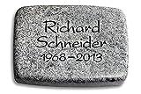 Generic Grabplatte, Grabstein, Grabkissen, Urnengrabstein, Liegegrabstein Modell Linea 40 x 30 x 7 cm Viskont-White-Granit, Poliert inkl. Gravur (Ohne Ornament)