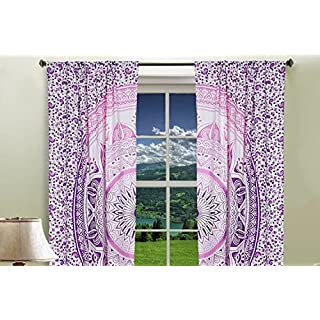 GANESHAM HANDICRAFTS - Indische Mandala Wand Hängende Tapisserie Vorhänge, Boho Vorhänge, Tapisserie Vorhänge, Home Decor Schlafzimmer Dekor Mandala Fenster Behandlung, indische Vorhänge