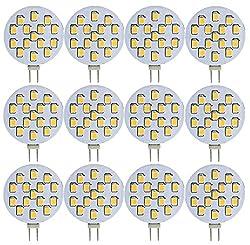 Trango 12er Pack LED Leuchtmittel mit G4 Fassung zum Austausch vom G4, MR16, GU5.3 Halogen Lampe TGG415-2.5W - 12V AC/DC - 2.5 Watt 250 Lumen - 3000K Power SMDs warmweiß, Lampensockel