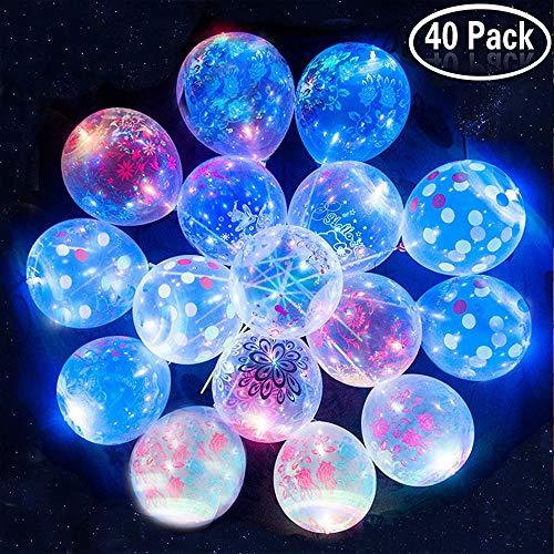 (Yojoloin Gedruckte Bedruckte Blumen LED leuchten Party Glow in The Dark Luftballons Party Dekrationen für Weihnachten, Feier, Geburtstag, Hochzeit usw. (40PCS))