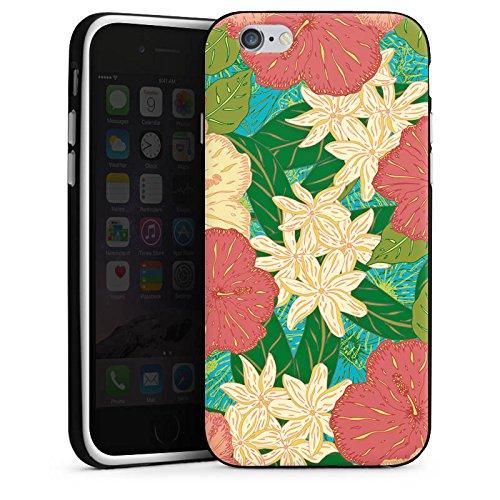 Apple iPhone X Silikon Hülle Case Schutzhülle Blumen Muster watercolor Silikon Case schwarz / weiß