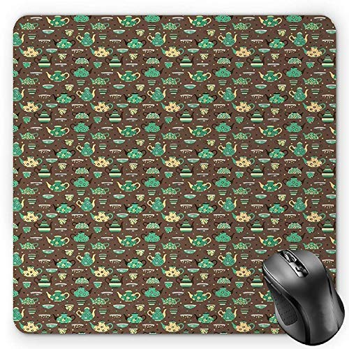 Cups and Pots with Different Floral Motifs on Dotted Brown Background Gaming Mousepad Office Mouse Mat Sea Green Brown Beige ()