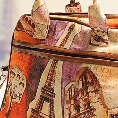 Yuga Printed Mode Schulter Handtaschen Designer-Frauen-Beutel mit Reißverschluss-Taschen Braun und Beige-3