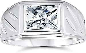 Bling Jewelry Rettangolo Geometrico 2CT Taglio Smeraldo AAA CZ Lunetta Uomo Anello di Fidanzamento Banda Zirconia Cubica per Uomo