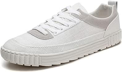 Scarpe Sportive Casual da Uomo Moda Estiva Tinta Unita Stringate Scarpe Traspiranti Sneakers Scarpe di Tela per Uomo