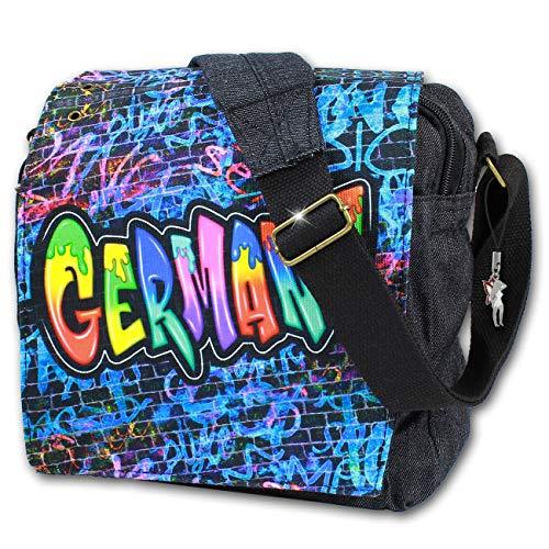 Robin Ruth Canvas kleine Umhängetasche/Überschlagtasche Germany in schwarz/blau (Maße: LxHxT 23x23x8 cm)