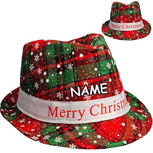 Unbekannt Weihnachtshut - Merry Christmas - Hut universal Größe - inkl. Name - Kinder & Erwachsene - Fedora / Trilby - Mütze Weihnachtsmütze Weihnachtsmann - Elf - cool..