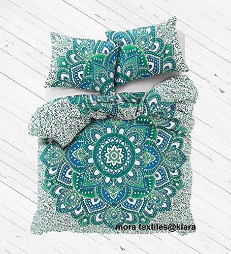Kiara 3 Pcs Mandala Betten Haltung Millionen Romantische Weiche Bettwäsche Quilt Decke Uni Twill Boho Bohemian Bettbezug Set Queen/Twin Größe, Baumwolle, Trendy Green Leaf, Queen (Leaf Queens Green)