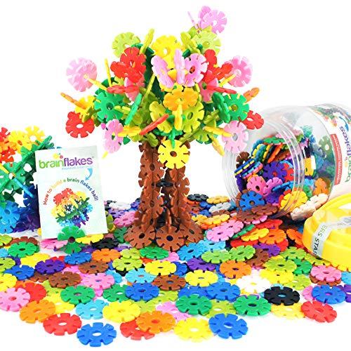 """VIAHART Kinder Spielzeug, Lernspielzeug, Schneeflocken-Bausteine Brain Flakes""""   500 Stück Mit Ineinandergreifen Kunststoffscheiben   Eine Kreative und Pädagogische Alternative zu Bausteinen   Au"""