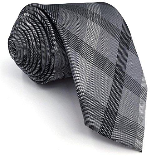 Shlax&Wing Klassisch Geschäftsanzug Herren Seide Krawatte Grau Kariert Extra lang 63
