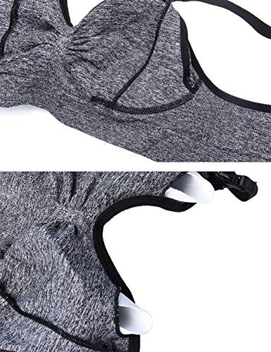 Aibrou Reggiseno per Allattamento, Reggiseno donna da Allattamento senza cuciture e con bretelle in aggiunta removibili. Black+Black+Black