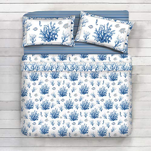 Completo lenzuola 100% cotone - disegno corallo, mare, pesci, estate (blu, matrimoniale)