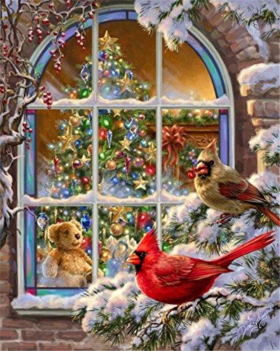 en nach Zahlen Kit für Kinder Erwachsene Anfänger 40,6x 50,8cm-Vogel vor dem Fenster, Zeichnen mit Pinsel Weihnachten Decor Dekorationen Geschenke 40X50cm Without Frame ()