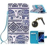 PU Cuir Coque Strass Case Etui Coque étui de portefeuille protection Coque Case Cas Cuir Swag Pour( Samsung Galaxy S7 Edge)+Bouchons de poussière (2)