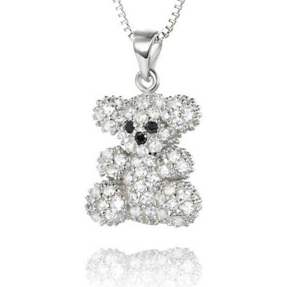 Sterling silver diamond teddy bear pendant necklace f1422 sterling silver diamond teddy bear pendant necklace f1422 aloadofball Choice Image