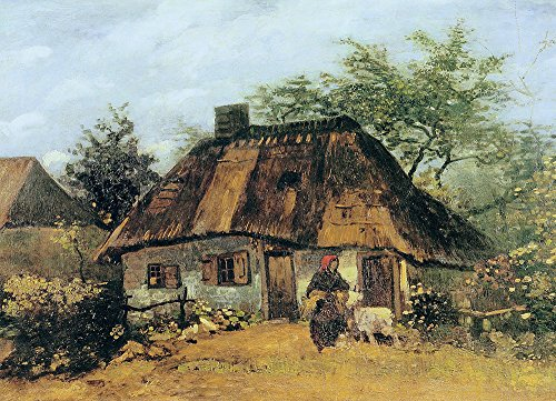 Vincent Van Gogh - Cottage and Woman with Goat, 1885 - Medium - Semi Gloss - Brown Frame
