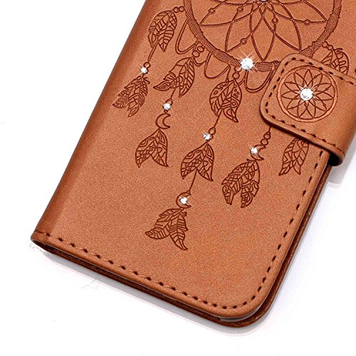 Custodia per iPhone 5/5S iPhone SE ,SKYXD Cover Libro Portafoglio in Pelle + TPU Gel Antiurto 360 Full Body Protezione Completa Retro Flip Coperture Case per Apple iPhone 5S/SE,Elegante Colorata Brill Marrone Campanula