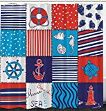 KRISTI MCCARTNEY Kids Fabric Shower Curtain, Nautical Stripes Anchor Ship Helm Wheel Polyester Fabric Home Textile Bathroom Accessories Modern Engaging Design Blue Navy Red White, 69 x 70 inches Long