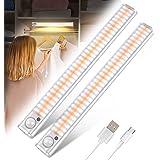 Lampe de Placard 120 LED Détecteur de Mouvement Lumière d'Armoire Eclairage Placard Sans Fil Aimanté yijiahome Rechargeable U
