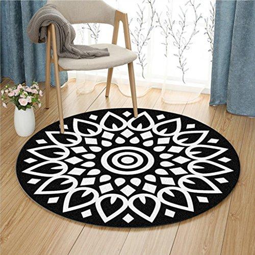 Zhang Xiao Hong Shop Schwarz-Weiß-Lotus-Muster runden Teppich Wohnzimmer Fußmatten Computer Stuhl Pad Studie Korb Matte (Color : Black, Size : 100 cm diameter) (Runde Graue Wolle)