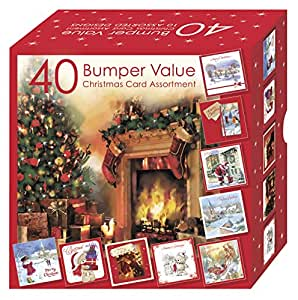 Club - Scatolone con biglietti di Natale tradizionali assortiti, con disegni per adulti e bambini, confezione da 40 pezzi