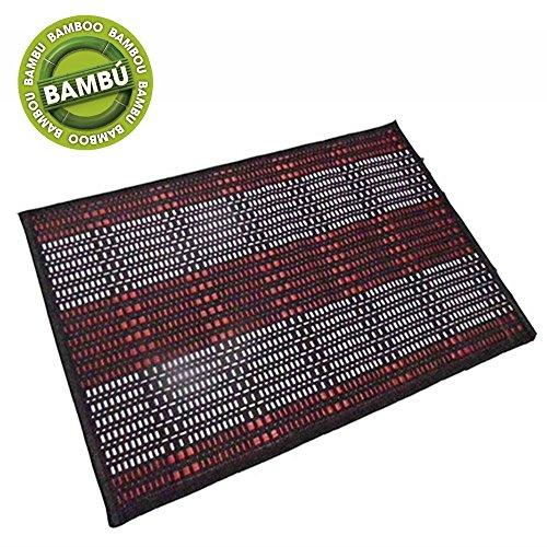 Alfombra de bambú/tela, roja y negra (60x90 cm)