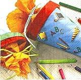 20 Stk. Servietten - Schultüte zum Schulanfang für Kinder - Serviette Tischserviette Papier Party Schuleinführung ABC Schützen