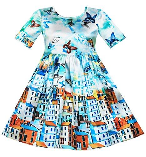 sunny-fashion-robe-fille-satin-bleu-ciel-papillon-ville-batiment-imprimer-7-ans