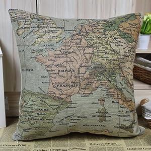 Hidoon® Europea Mapa del Mundo Mapa colores Francia Cojines Fundas Fundas