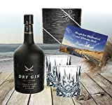 Gin Geschenk-Set Sansibar Luxus-DryGin inkl. 2 Gin-Gläsern. Das Geschenk für Liebhaber Luxusgeschenk für Männer