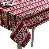 YOUJIA Tischdecke Weihnachtliche Gestreift Gedruckt Tischtuch Großformat Gartentischdecke Pflegeleicht Tischwäsche (Weihnachts Rot, 140*140cm)