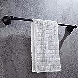MmDLai Schwarz Handtuchhalter 1-Polig Handtuchhalter Edelstahl Badezimmer Hängen 50 Cm Handtuchhalter