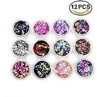 boocy 6BOX color purpurina polvo uñas arte Glitter flash Polvo Uñas Arte Decoración