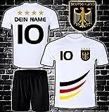ElevenSports Deutschland Trikot + Hose mit GRATIS Wunschname + Nummer + Wappen Typ #D 2019 im EM/WM Weiss - Geschenke für Kinder,Jungen,Baby. Fußball T-Shirt personalisiert